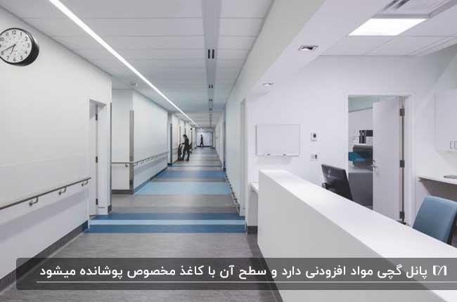 راهروی بیمارستانی به رنگ روشن با پانل روکش دار کاذب برای سقف