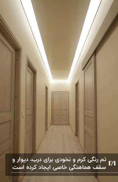 ایجاد روشنایی زیبا با زدن سقف کاذب در راهروی مسکونی