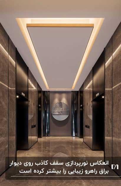 نورپردازی سقف کاذب یک راهرو با کاشی های دیوار براق