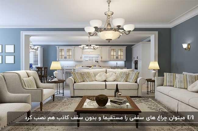 تصویر نشیمنی با دیوارهای سفید و آبی، مبلمان و چراغ های آویز و آباژور
