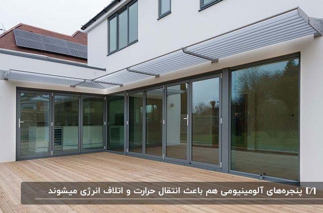 درب و پنجره های بزرگ آلومینیومی مشکی برای خانه ای بزرگ با کفپوش چوبی
