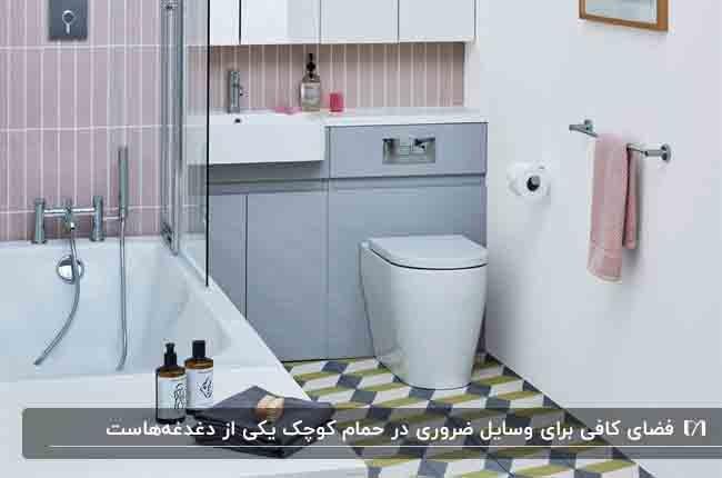 تصویری از یک حمام کوچک با لوازم ضروری مورد نیاز در آن