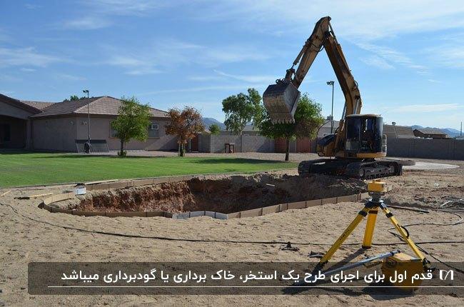 محوطه ای خاکی که یک بیل مکانیکی برای ساخت استخر در حال گودبرداری در آن است