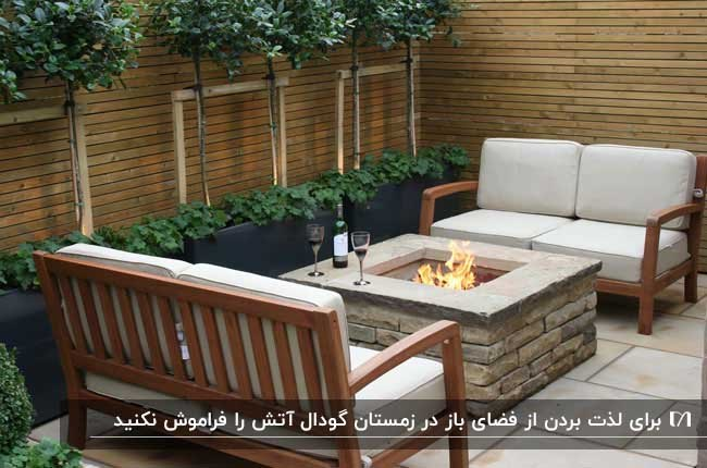 تصویری از یک نورگیر کوچک با دیوار و صندلی های چوبی و یک گودال آتش سنگی مربعی وسط فضا