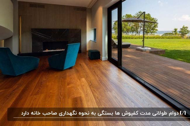 نشیمن خانه ای با مبلمان آبی و کفپوش چوبی