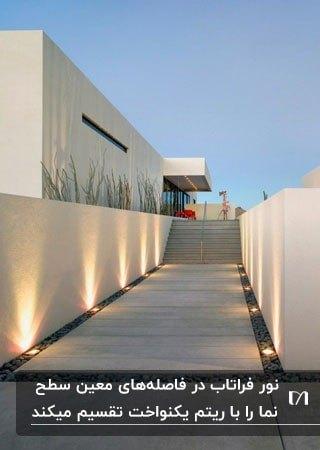 لامپ های فراتاب برای نورپردازی محوطه خارجی یک ویلا
