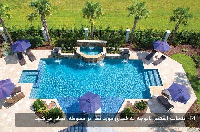 استخری هندسی برای شنا در فضای سبز با چتر و میز و صندلی اطرافش