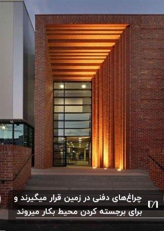 لامپ های زمینی برای نورپردازی ساختمانی با نمای آجر