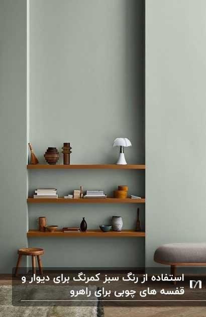 دیوار سبز چرک کمرنگ با قفسه های چوبی روی دیوار