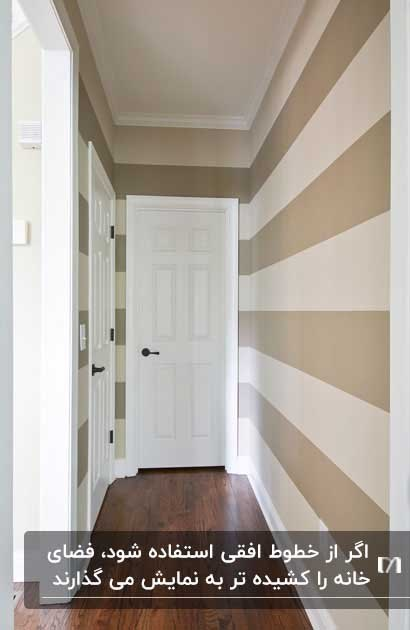 تصویری از یک راهروی سفید و کرم با کاغذدیواری با خط های افقی