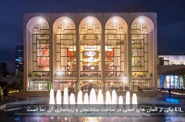 نمای نورپردازی شده ساختمانی با پنجره های دایره ای براساس کاربری فضا