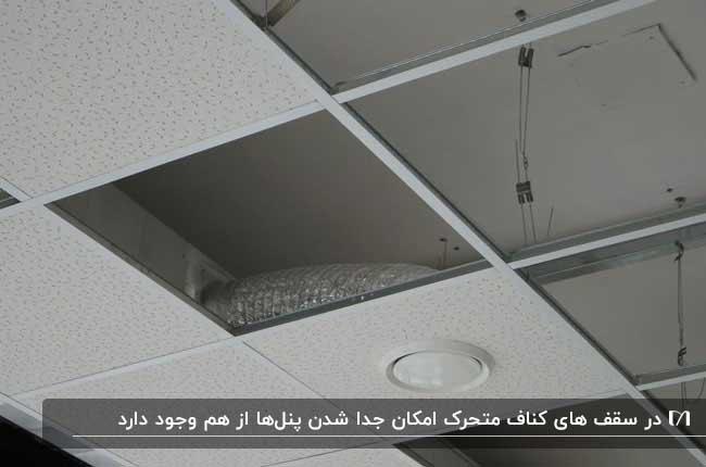 تصویری از سقف نیمه کاره ای با کناف متحرک