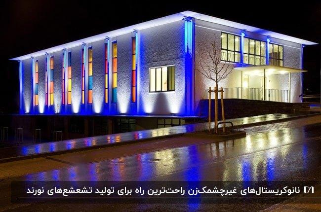 نورپردازی رنگی نانوکریستال نمای ساختمانی سفد