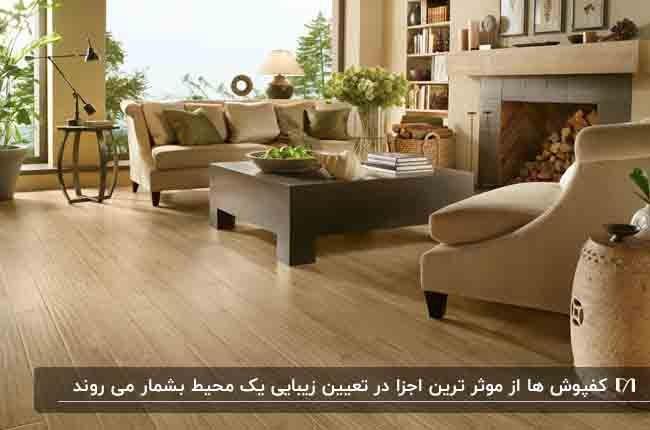 نشیمن خانه ای با کفپوش چوبی و مبلمان کرم و شومینه