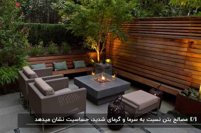 نورگیری با دیوار و نیمکت چوبی و مبلمان حصیری و شومینه مربعی