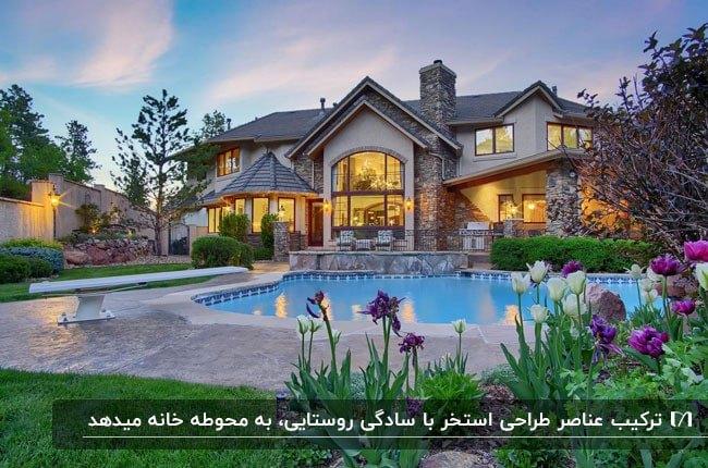 تصویری از محوطه سازی و نمای خارجی خانه ای به سبک روستیک