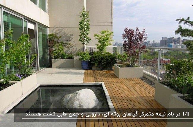 روف گاردن نیمه متمرکز با گیاهان و درختان گلدانی