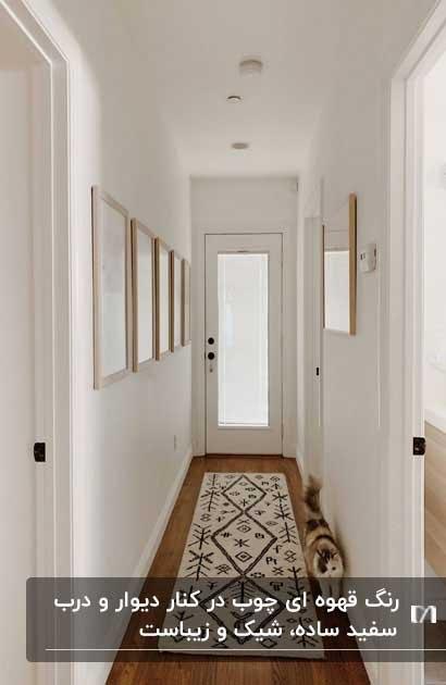 کفپوش چوبی و دیوارهای سفید برای راهروی خانه