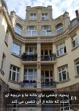 تصویر آپارتمانی با پنجره های زیاد در نما و گلهایی پشت پنجره بالکن