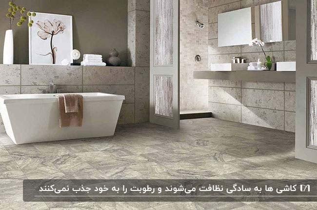 حمامی بزرگ با یک وان سفید و کاشی طرحدار برای کف