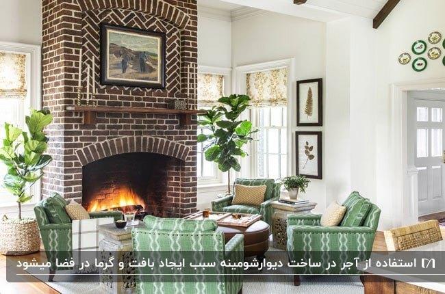 نشیمنی با دیوار آجری شومینه و مبلمان راحتی سبز و سفید