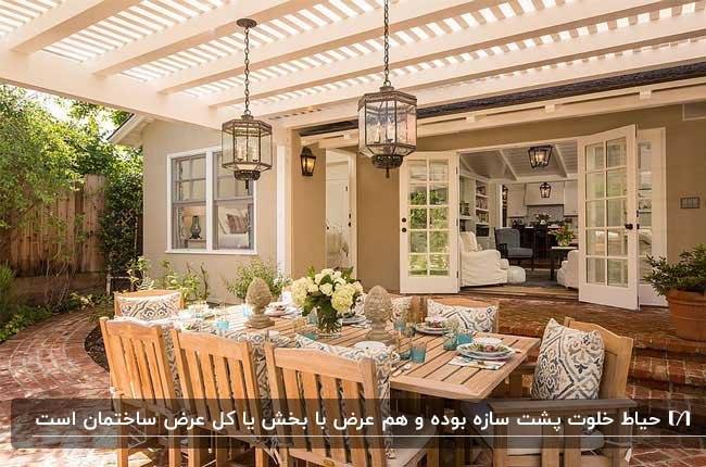 تصویر حیاط خلوتی با میز غذاخوری و صندلی های چوبی به همراه سقف نرده ای