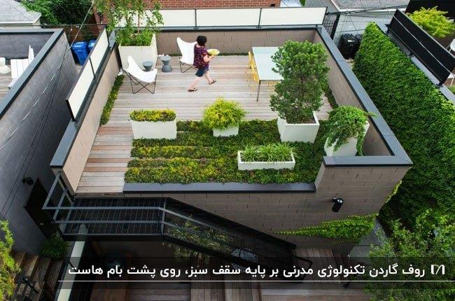 تصویر بام سبزی با گلدان های گل و درخت و میز و صندلی های زرد