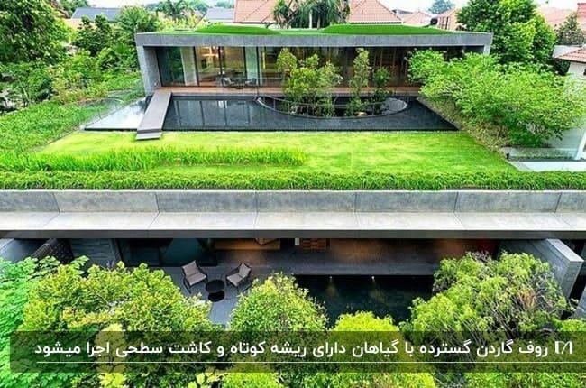 تصویر فضای سبز بام خانه ای با کفپوش چمن