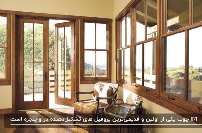 تصویری از درب و پنجره های چوبی خانه ای با دیوارهای نخودی
