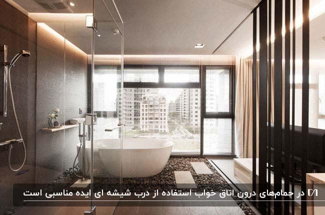 تصویر از یک حمام در اتاق خواب با وان و پنجره بزرگ و درب شیشه ای