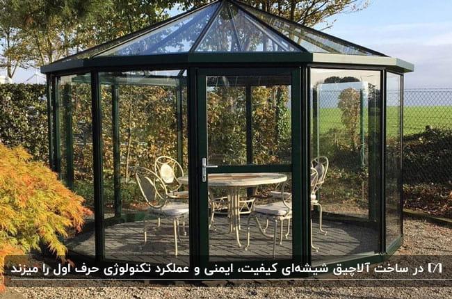 تصویری از یک آلاچیق چندضلعی شیشه ای با فریم مشکی و میزو صندلی های فلزی