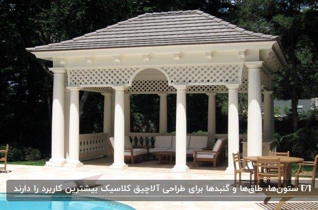 تصویر یک سایبان به سبک کلاسیک با ستون های کارشده کلاسیک و سقف شیروانی کنار استخر