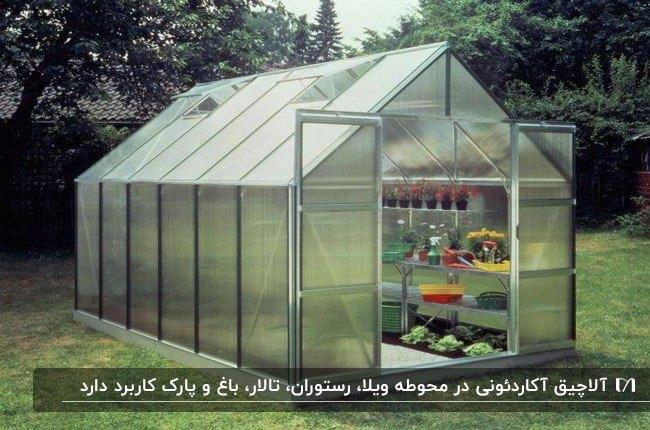 سایبانی آکاردئونی و تاشو شفاف با سقف شیبدار