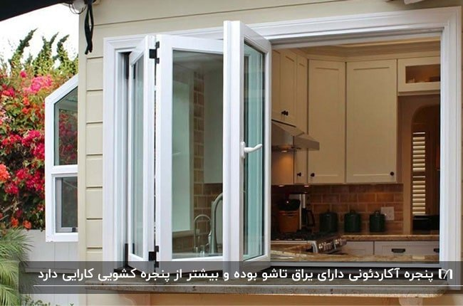تصویر نمای پنجره آکاردئونی یک آشپزخانه با فریم سفید