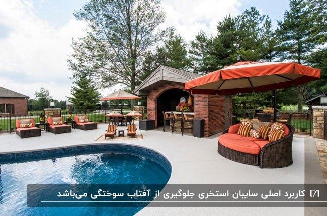 سایبان های چتری نارنجی رنگ برای استراحت کنار استخر دایره ای در حیاط