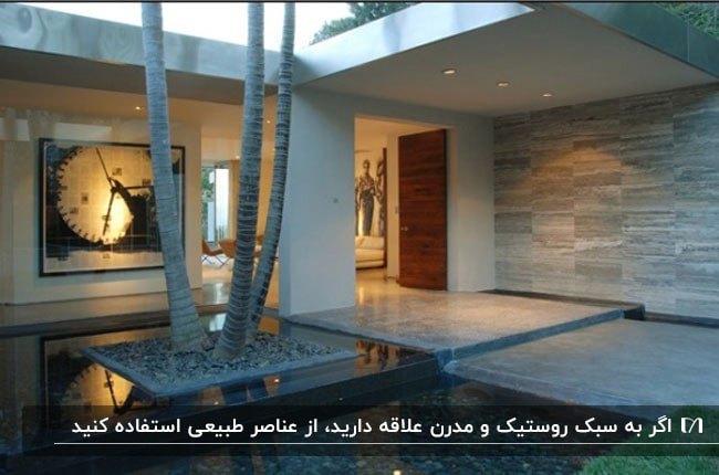آبنمای بزرگی با یک درخت کاشته شده وسطش برای فضای داخلی خانه