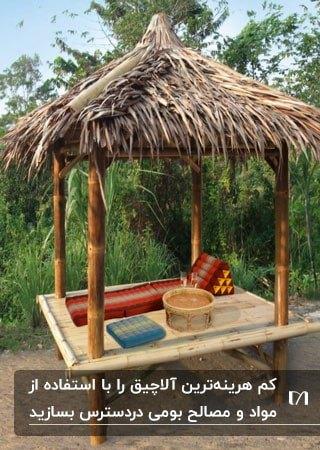 آلاچیق ارزان بومی با پایه های چوبی و سقف پوشالی