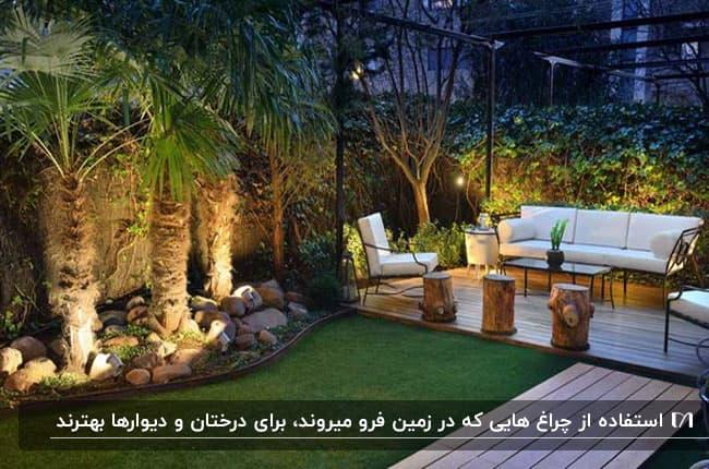بام سبزی با چراغ های زمینی زیر بوته ها و درختان در کنار مبلمان
