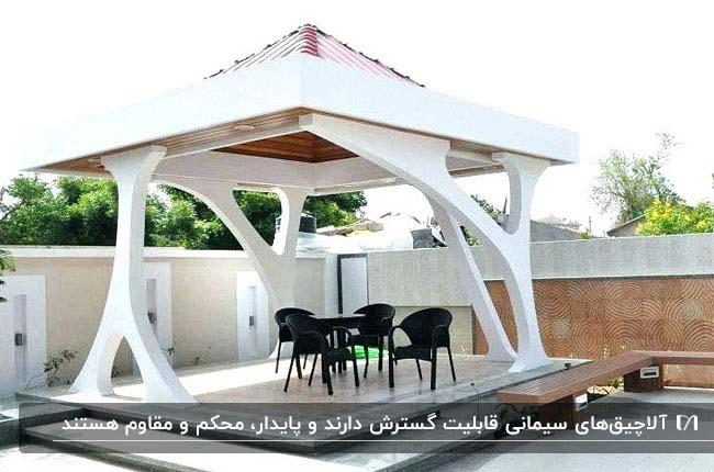 تصویر یک آلاچیق سیمانی سفید با سقف شیروانی و میز و صندلی های مشکی