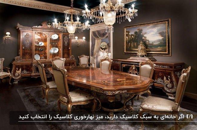 تصویر اتاق غذاخوری قهوه ای به سبک کلاسیک