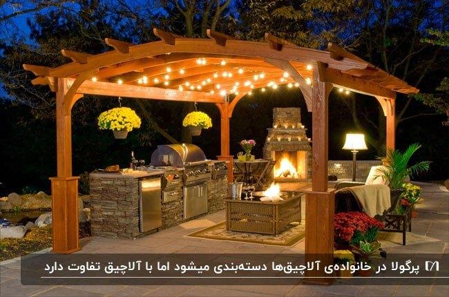 تصویر سایبانی چوبی به همراه باربیکیو و شومینه که سقفش با ریسه های چراغ روشن شده است