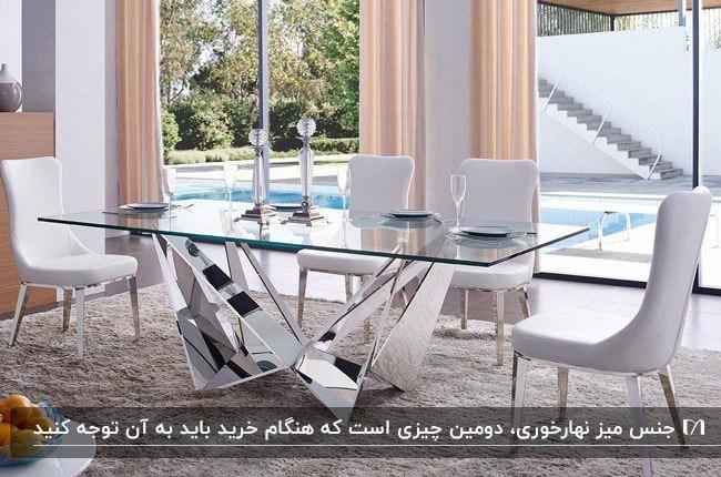 میز غذاخوری شیشه ای با صندلی های چرم سفید
