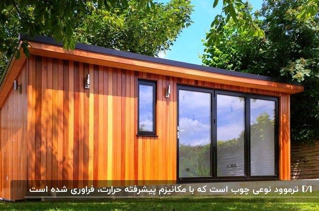 تصویر خانه پیش ساخته ای با نمای ترموود در یک فضای سبز