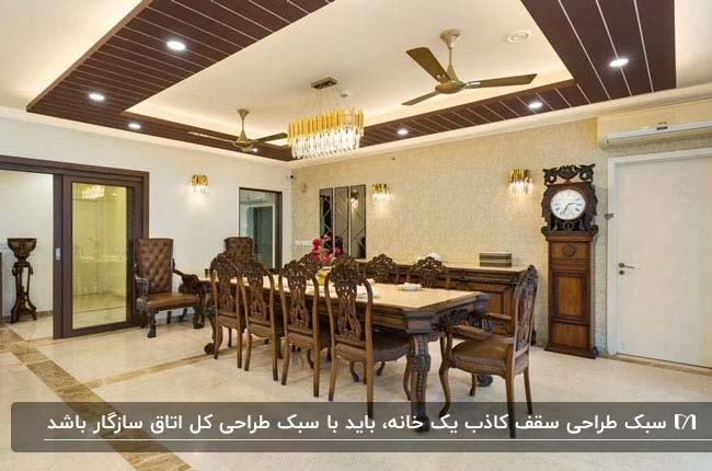 تصویر یک اتاق نهار خوری با لوازم چوبی و سقف کاذب چوبی با دو پنکه سقفی بالای میز نهارخوری