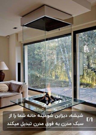 شومینه مکعبی بلند شیشه ای رو به روی دیوار شیشه ای نشیمن