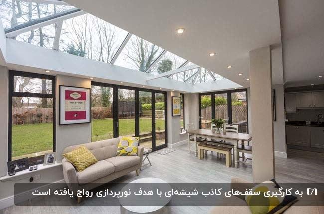 تصویر یک پذیرایی با کاناپه کرم کنار درب شیشه ای با یک سقف کاذب تورفته شیشه ای