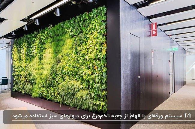 تصویر دیوار سبزی با سیستم ورقه ای با فریم مشکی و نورپردازی هالوژنی