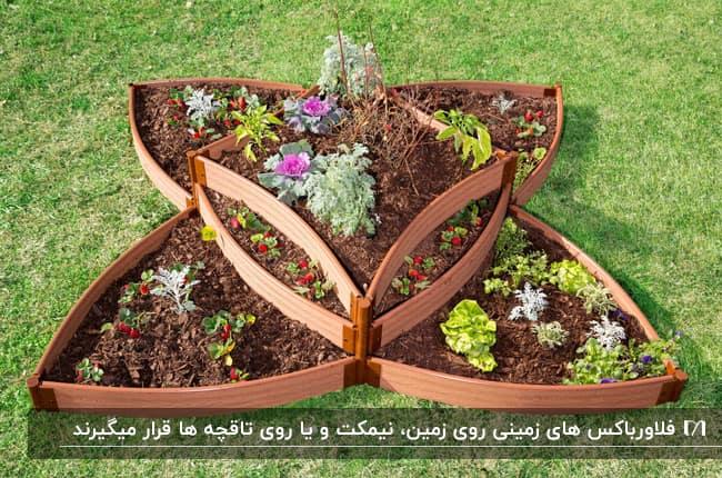 فلاورباکس چوبی زمینی به شکل گل روی زمین چمنی