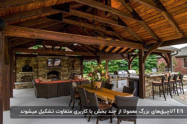 آلاچیق بزرگی با سقف چوبی و دیوار شومینه سنگی و مبلمان و صندلی های حصیری