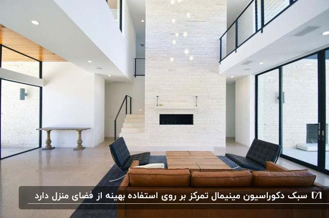 تصویر نشیمن روشن و سفیدی به سبک مینیمال با مبلمان قهوه ای و خاکستری چرم